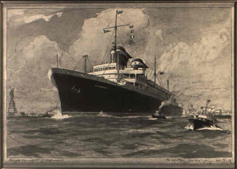 study of a port bow view of the ss america leaving new york by william james aylward