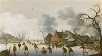 winter scene with skaters and kolfers on the ice by anthonie van stralen