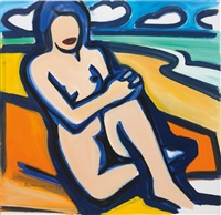 blue nude drawing (12/17/99) by tom wesselmann