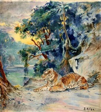 le repos du tigre dans la jungle by e. baily hilda