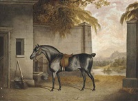 black hunter in the stableyard by george jackson