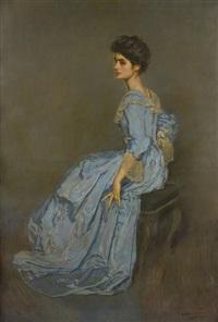 portrait de madame gravier en robe de satin bleu et dentelle by antonio de la gandara