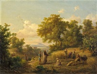 landschaft mit kornernte by karoly marko the younger