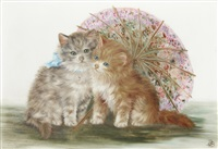kittens with parasol (+ kittens with cushion; pair) by bessie bamber
