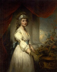 portrait of lady frances herbert in a white dress with blue sash, tending a geranium in an urn, by a column and a red curtain, with sky beyond by john westbrooke chandler