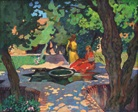 deux femmes au jardin by henri dabadie