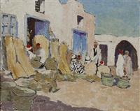 north african street scene with figures seated next to baskets by jeka kemp