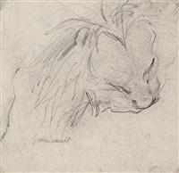 etude de tête de lion dévorant une proie (study) by théodore géricault