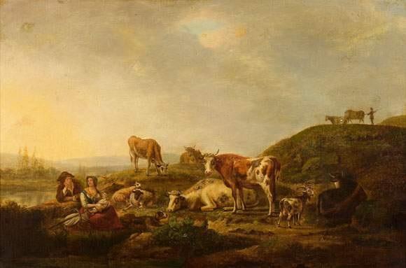 le repos des bergers et de leur troupeau dans un paysage de rivière by hendrick van anthonissen