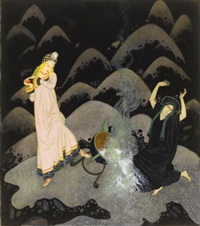 with a scream the princess rushed forward, and, before her wicked sister could prevent her, she had upset the cauldron with a crash by edmund dulac