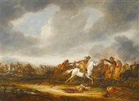 a cavalry skirmish, a soldier on his white horse attacking to the right, with a fallen horse in the right foreground by abraham van der hoeff
