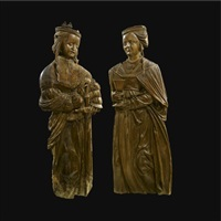 reliefs of saint barbara and saint catherine (pair) by german school-swabian (16)