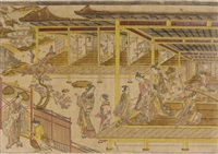 a perspective view of the story of jorurihime and yoshitsune (urushi-e) by japanese school (18)