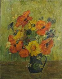 pot with wild flowers by dan bajenaru