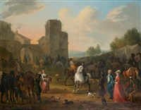 un marché aux chevaux à l'entrée d'une ville by josef van aken