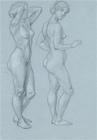 skizze eines weiblichen akts 2 verschiedene stellungen sketch by hans thoma