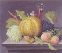 opstilling med vindruer, melon, ferskner, valnod, vinglas og sommerfugl by johannes ludwig camradt