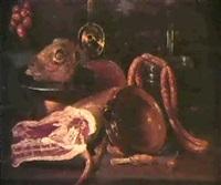 nature morte a la piece de viande et aux ustensiles de   cuisine; nature morte aux poissons et aux huitres by andries van bochoven