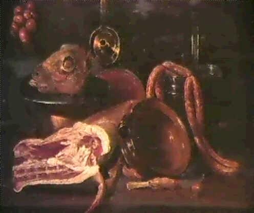 nature morte a la piece de viande et aux ustensiles de cuisine nature morte aux poissons et aux huitres by andries van bochoven