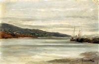 marina con barche by achille tominetti