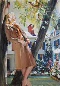 woman leaning against tree in yard by john gannam