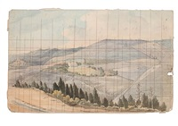 st. helena landscape with homestead, possibly marshall bertrand's house by denzil o. ibbetson