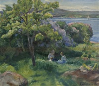 woman and children in summer landscape by severin grande