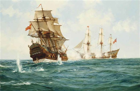 hms centurion capturing the spanish treasure galleon nuestra senora de cavadonga off the phillippines 20th june 1743 by montague dawson
