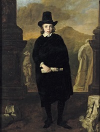 portrait of a young man standing amongst classical sulpture, a landscape beyond by thomas de keyser