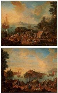 campement au port (+ campement près d'une île; pair) by mathys schoevaerdts