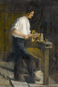 handwerker beim drechseln by gustave jeanneret