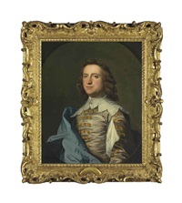 portrait of john armytage esq., half-length, in van dyck costume, in a feigned oval by thomas hudson