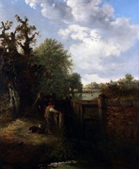 boy with dog fishing by lock gates by edward robert smythe