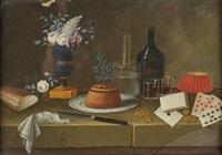 nature morte aux cartes à jouer et vase fleuri by lelong