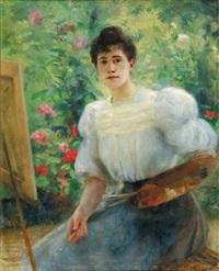 femme peintre au jardin (autoportrait) by gabrielle achenbach