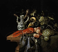 a lobster, apricots and plums in a wan-li kraak porcelain bowl with a wine glass, an ewer and vine leaves on a partly draped table by laurens craen