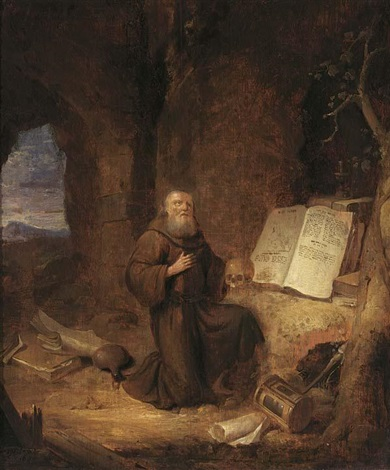 a penitent hermit in a grotto by jacob van spreeuwen
