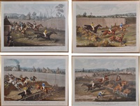 the last grand steeple chase (+ hippodrome race course, kensington; pair) by charles hunt