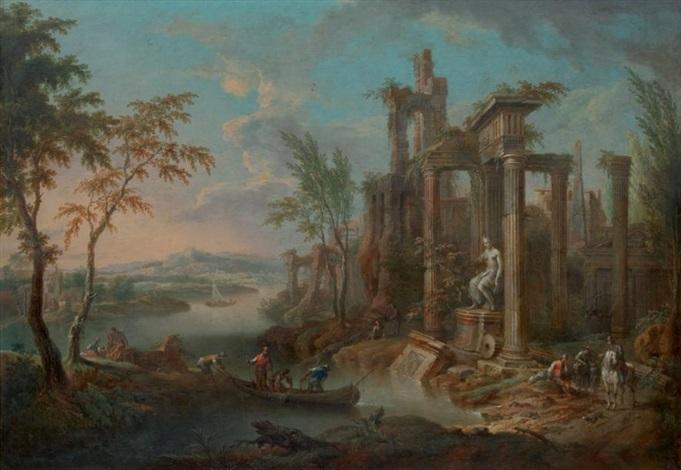 pêcheurs dans un paysage de ruines antiques by franz christoph janneck