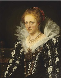 portrait of jacqueline of caestre in a black and white embroidered dress with a lace collar, seated on a green chair (after sir peter paul rubens) by jan adam janszoon kruseman