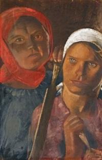 the field workers a. fedorova and a. egorova by alexandr nikolaevich samokhvalov