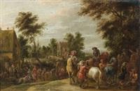le départ des cavaliers dans un village des flandres by lambert de hondt
