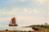 unloading the anchored ship by johannes hermanus barend koekkoek