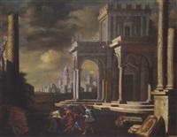 phantastische architektur mit figuren bei einem reigentanz (prospettiva architettonica con una carola di danzanti) by alessandro salucci