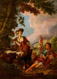 pasterka i dudziarz by françois boucher