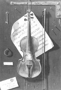 violin hanging on a wall - a trompe l'oeil by w.g. becker