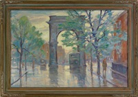 street scene of washington square by bela de tirefort
