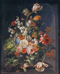 tulips, peonies, poppies, roses, hyacinths, marigolds, auricolae, a cornflower, a passion flower, african marigolds and other flowers in a glass vase on a stone ledge by johannes christianus roedig
