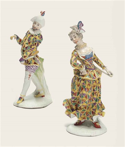 harlequin and harlequine dancing pair by simon feilner