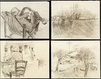 l'artiste devant le grand hôtel & l'artiste à la lecture (3 works) by adrien jean le mayeur de merprés